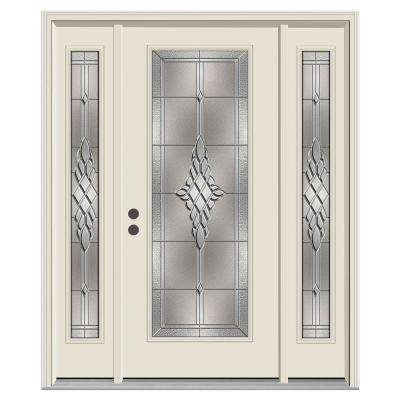 Hadley Full Lite Primed Steel Prehung Front Door With 14 In. Sidelites