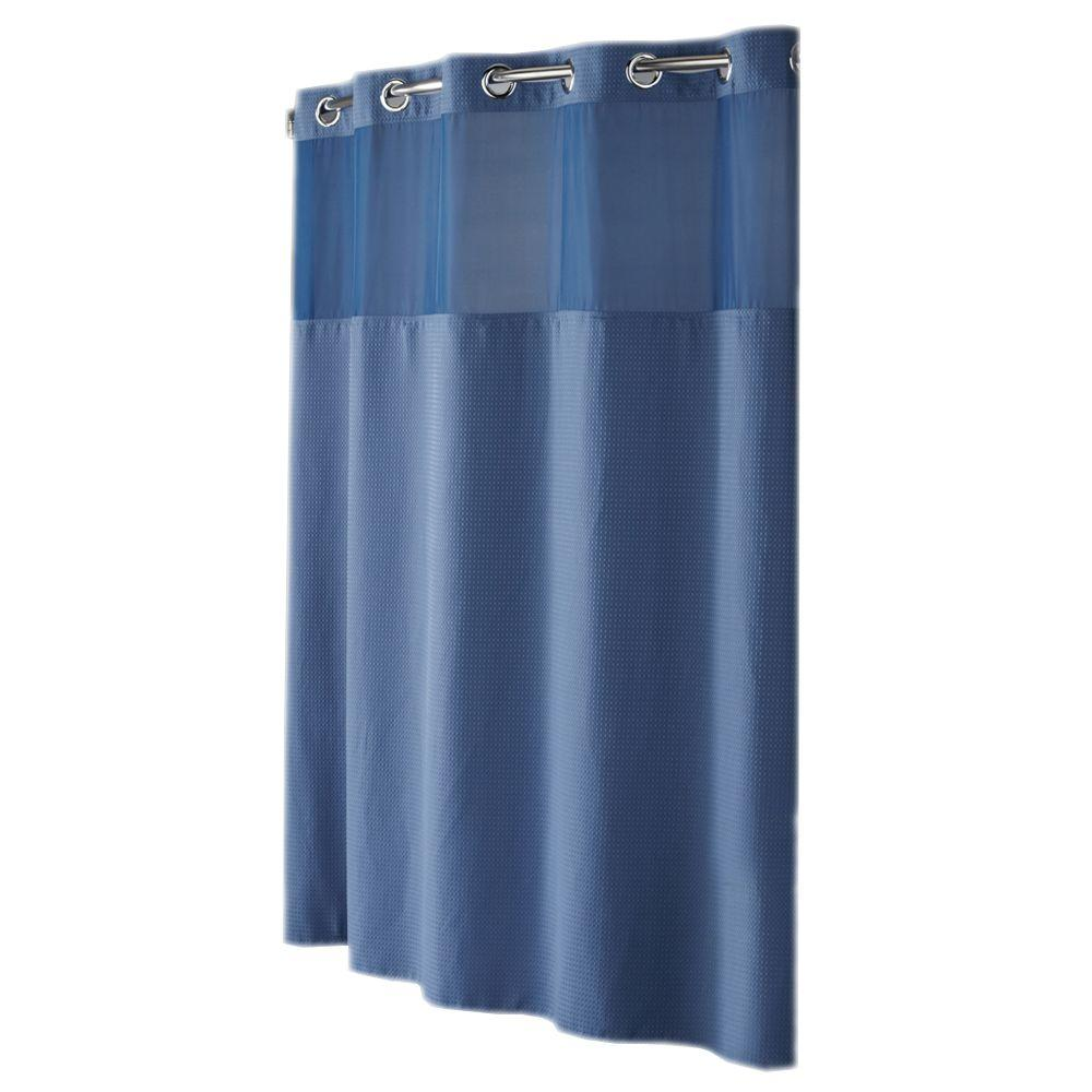 Hookless Shower Curtain Mystery with Peva Liner in Moonlight Blue Diamond Pique