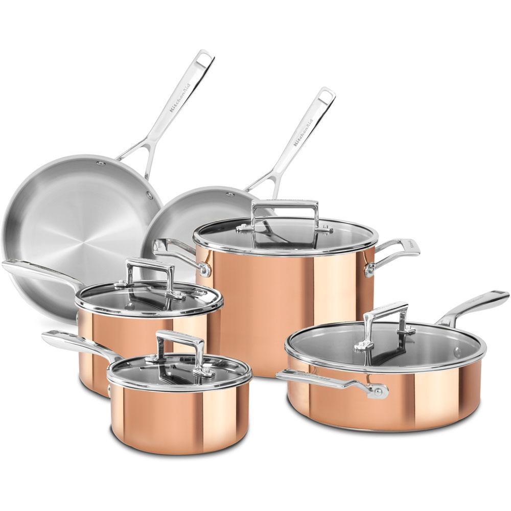 kitchenaid 10 piece copper cookware set with lids kc2ps10cp the home depot. Black Bedroom Furniture Sets. Home Design Ideas