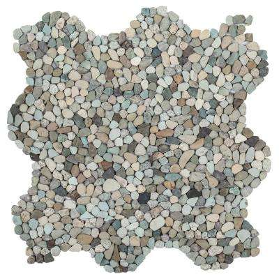 Pond Pebble River 11.75 in. x 11.75 in. x 6 mm Pebble Mosaic Tile