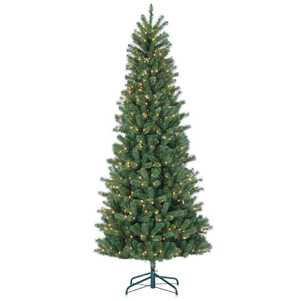 Christmas Tree Cut Out.Sterling 7 5 Ft Pre Lit Natural Cut Slim Montgomery Pine Artificial Christmas Tree With Clear Lights