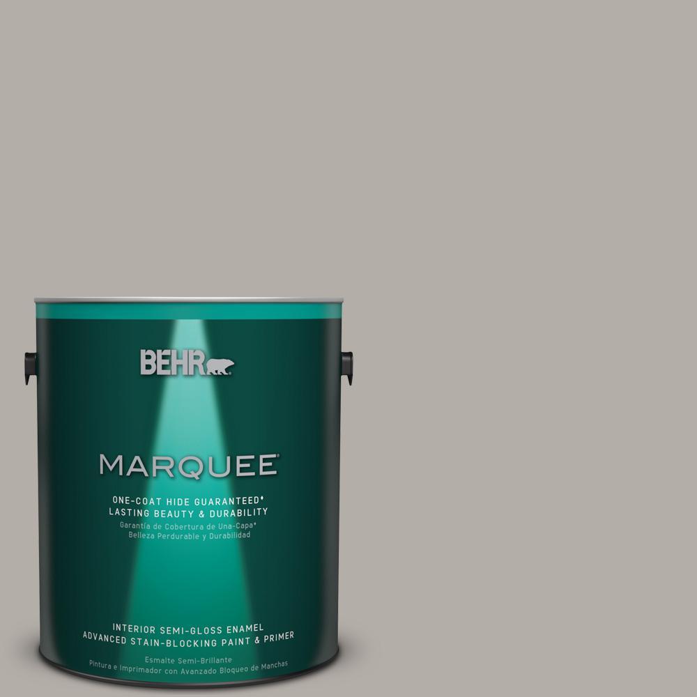 1 gal. #T17-09 Laid Back Gray Semi-Gloss Enamel Interior Paint