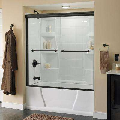 Silverton 60 in. x 58-1/8 in. Semi-Frameless Sliding Bathtub Door in Bronze with Clear Glass