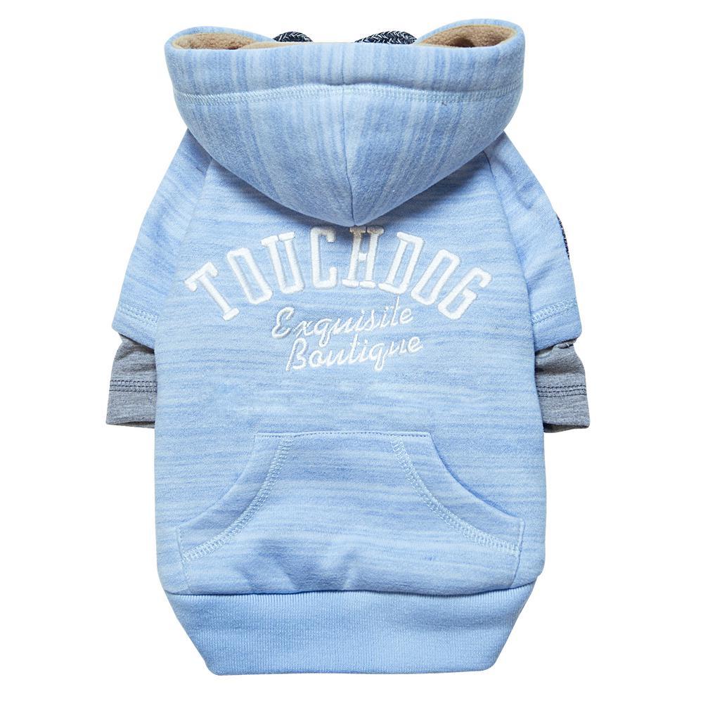 Small Blue Hampton Beach Designer Ultra Soft Sand-Blasted Cotton Pet Dog Hoodie Sweater
