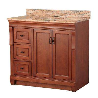Naples 37 in. W x 22 in. D Vanity in Warm Cinnamon with Left Drawers with Vanity Top and Stone Effects in Bordeaux