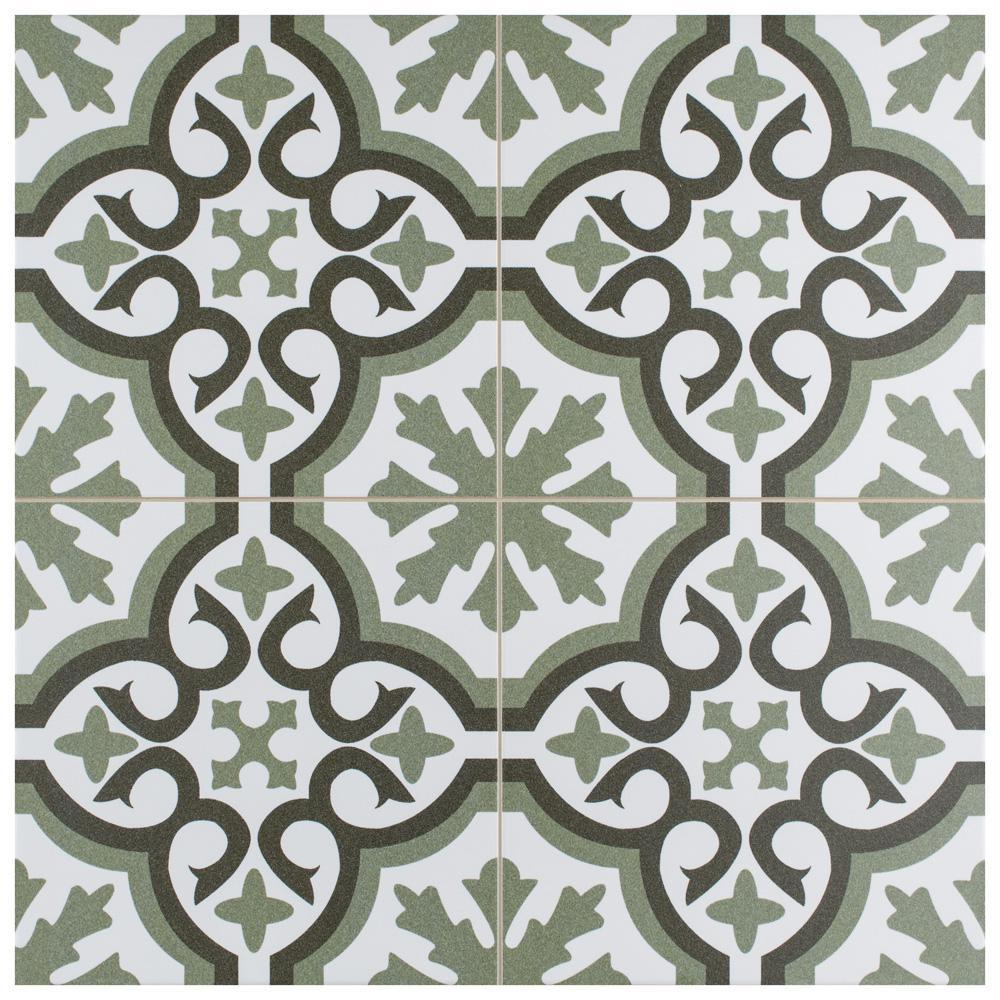 Berkeley Essence Eden Encaustic 17-7/8 in. x 17-7/8 in. Porcelain Floor and Wall Tile (11.33 sq. ft. / case)