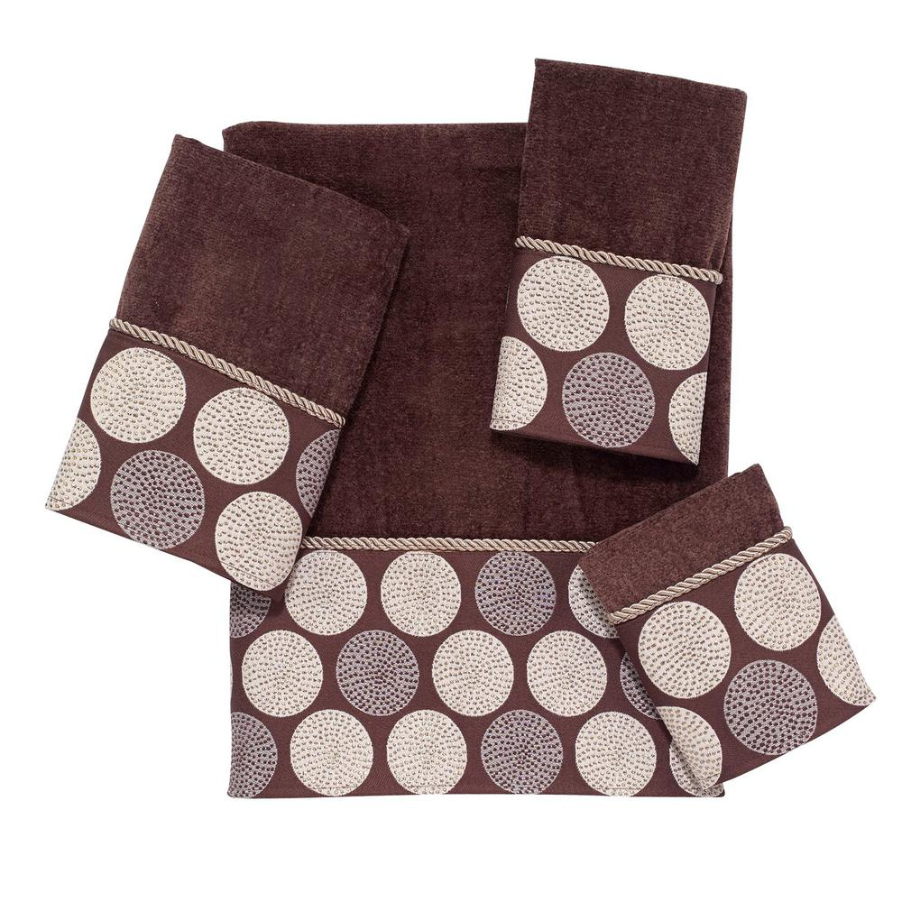 Dotted Circles 4-Piece Bath Towel Set in Mocha