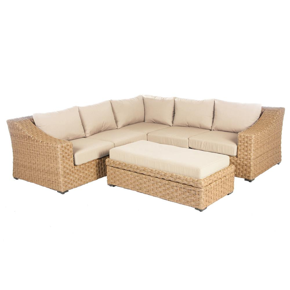 Cool Ae Outdoor Elizabeth 6 Piece Wicker Patio Sectional Seating Set With Cast Ash Cushions Inzonedesignstudio Interior Chair Design Inzonedesignstudiocom