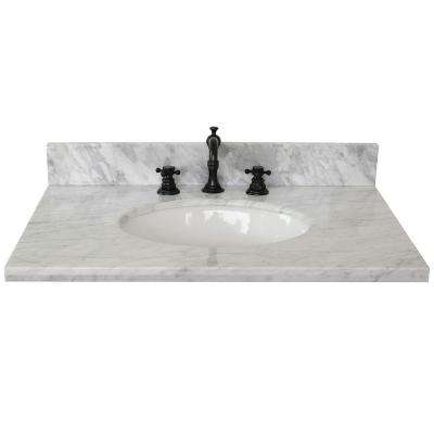 Ragusa 31 in. W x 22 in. D Marble Single Basin Vanity Top in White with White Oval Basin