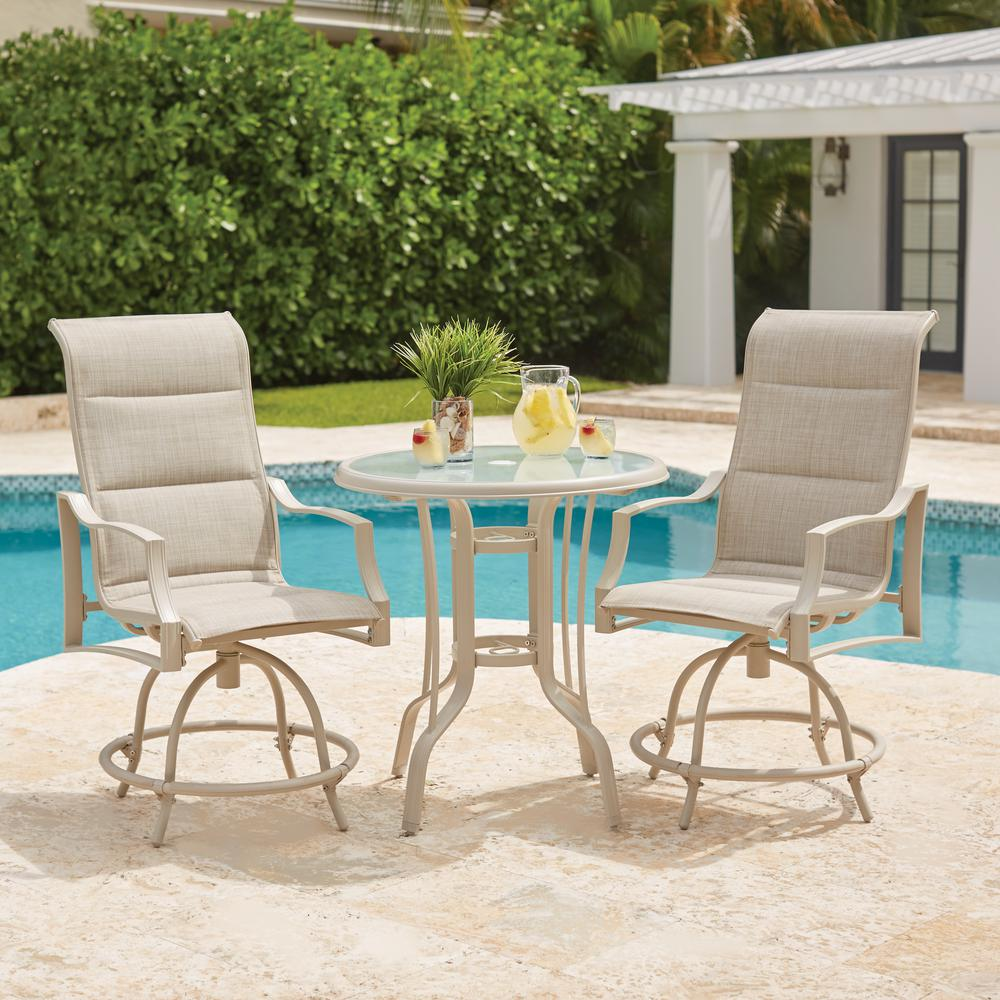 Statesville Shell 3 Piece Outdoor Balcony Height Dining Set