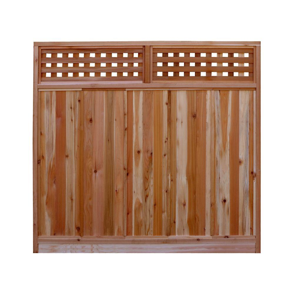 W Western Red Cedar Checker Lattice Top Fence