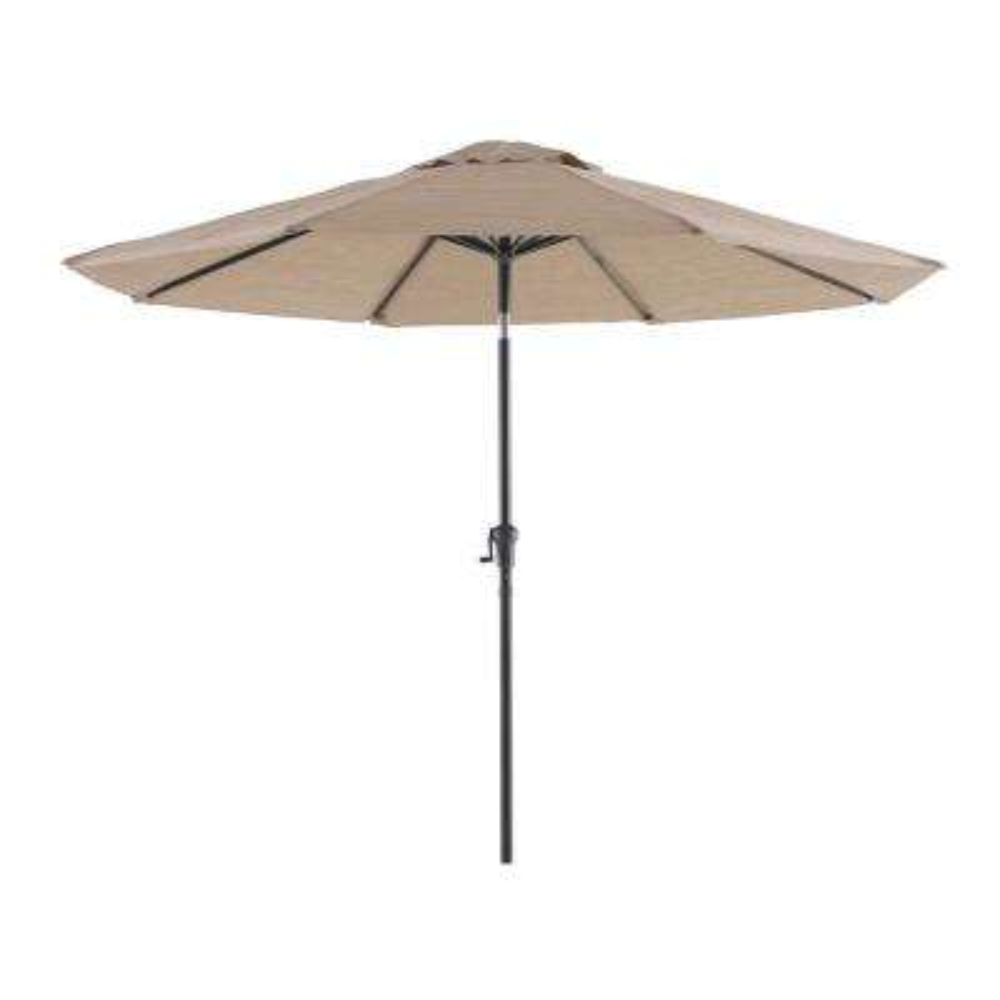 Tuscan Estate 9 ft. Aluminum Umbrella in Heather Brown Sling