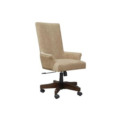 Brown and Black High Back Polyester Upholstered Wooden Swivel Chair with Adjustable Seat