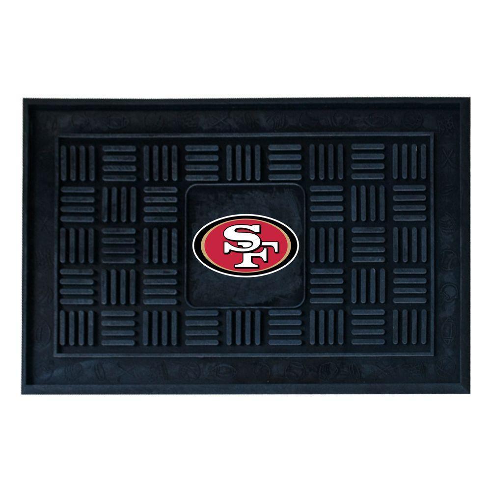 NFL San Francisco 49ers Black 19 in. x 30 in. Vinyl Outdoor Door Mat