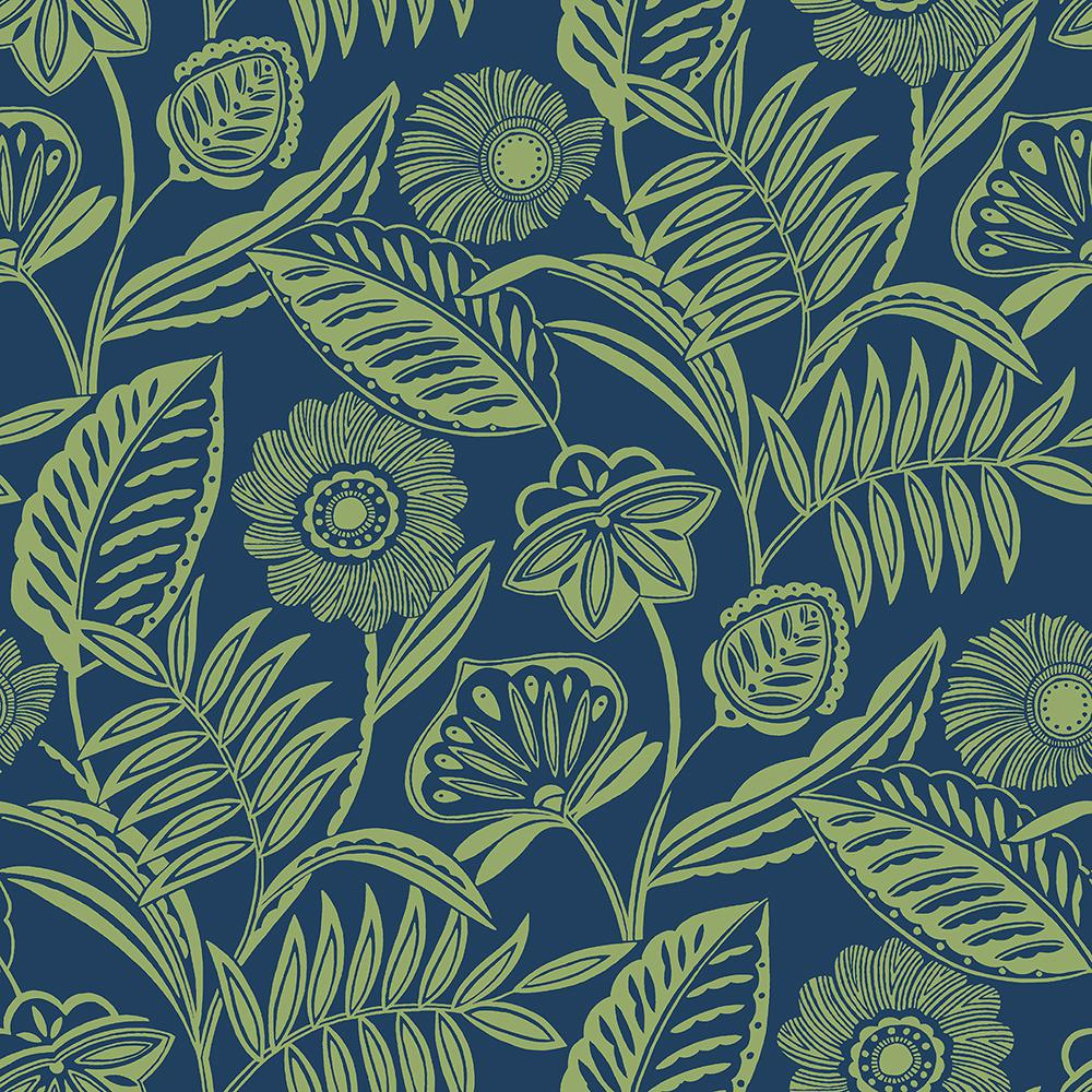 A Street Alma Blue Tropical Floral Strippable Wallpaper Covers