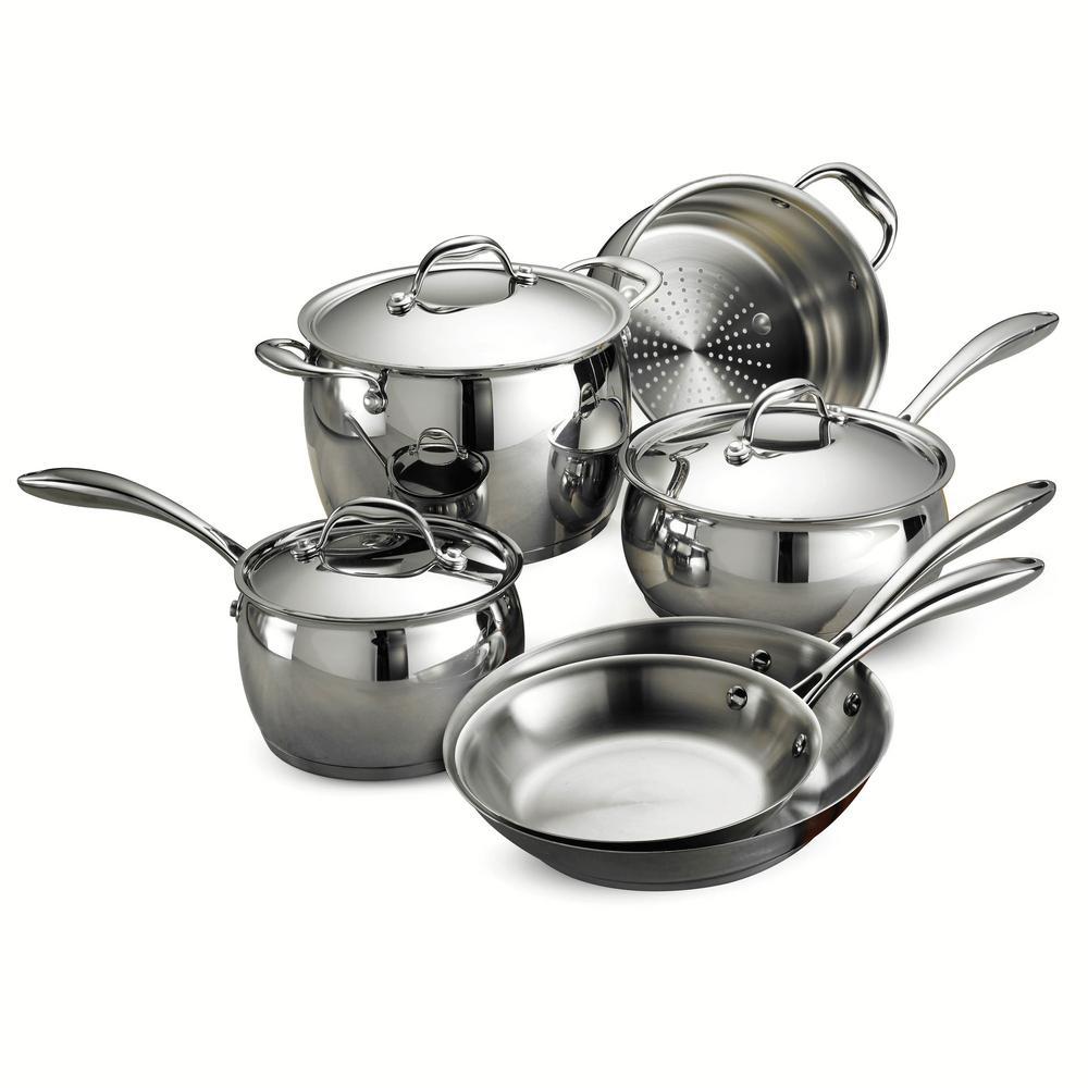 Tramontina Gourmet Domus Tri-Ply Base 9-Piece Cookware Se...
