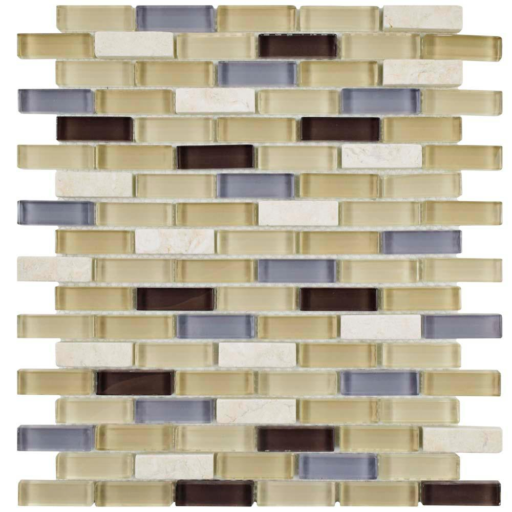 MerolaTile Merola Tile Tessera Subway River 10-3/4 in. x 11-3/4 in. x 8 mm Glass and Stone Mosaic Tile, Multicolored Beige / Mixed Finish