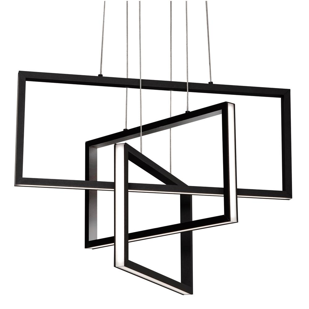 Afx Cole 36 Watt Integrated Led Black Pendant With Steel Shade Colp24l30d1bk The Home Depot