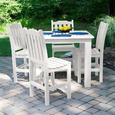 Lehigh White 5-Piece Recycled Plastic Square Outdoor Balcony Height Dining Set
