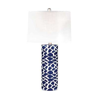 28 in. Blue and White Scale Sketch Table Lamp