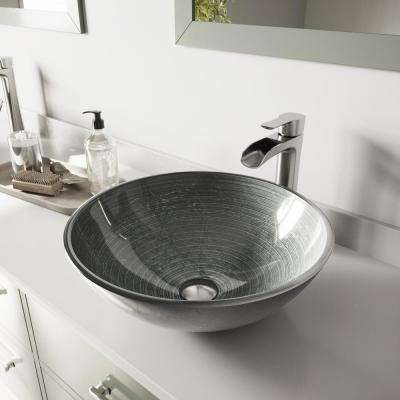 Glass Vessel Bathroom Sink in Simply Silver and Niko Faucet Set in Brushed Nickel