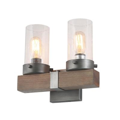 2-Light Aged Silver Wood Vanity Light with Seeded Glass Shade