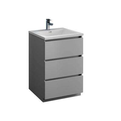 Lazzaro 24 in. Modern Bathroom Vanity in Gray with Vanity Top in White with White Basin