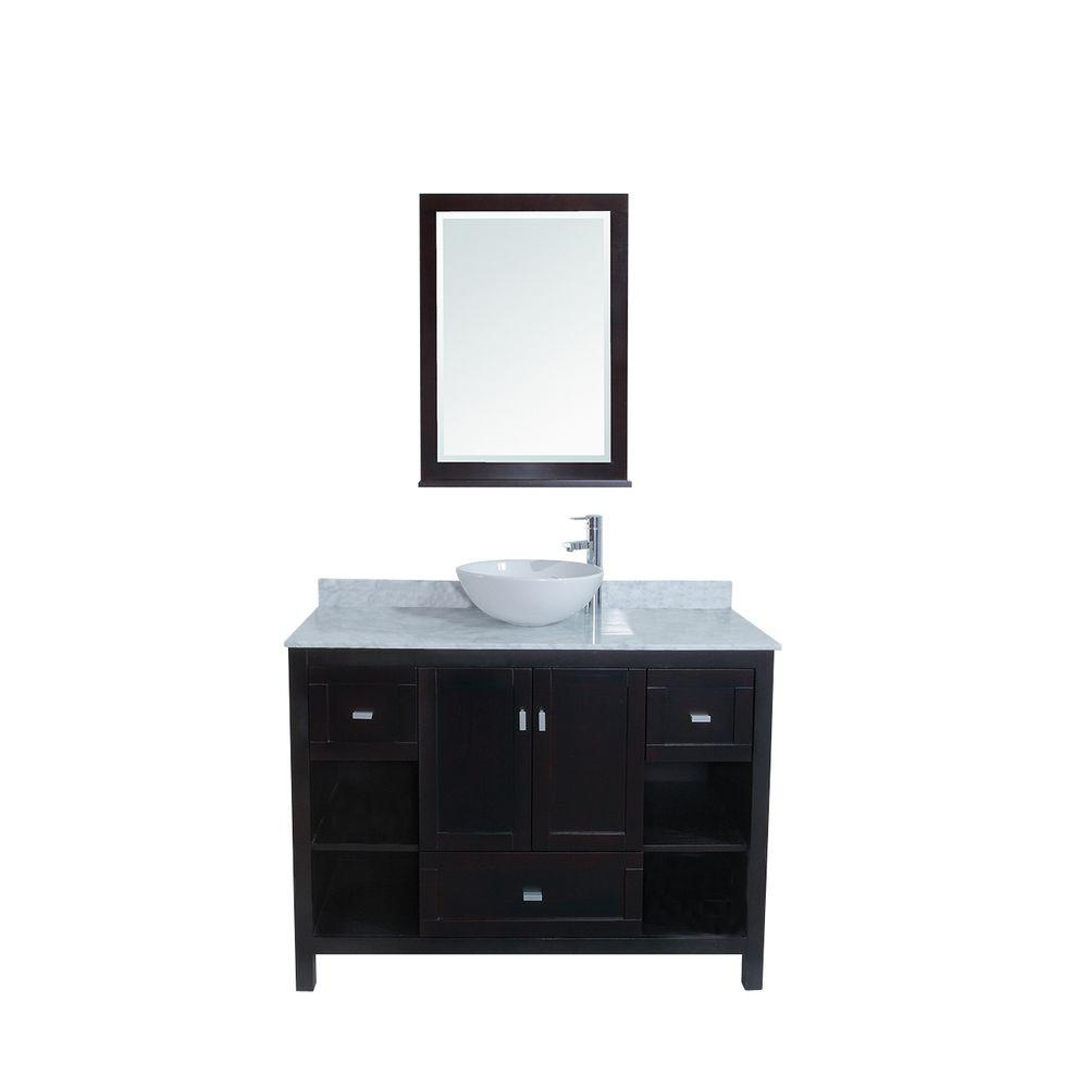 stufurhome Sienna 48 in. Single Vanity in Espresso with Marble Vanity Top in White and Mirror