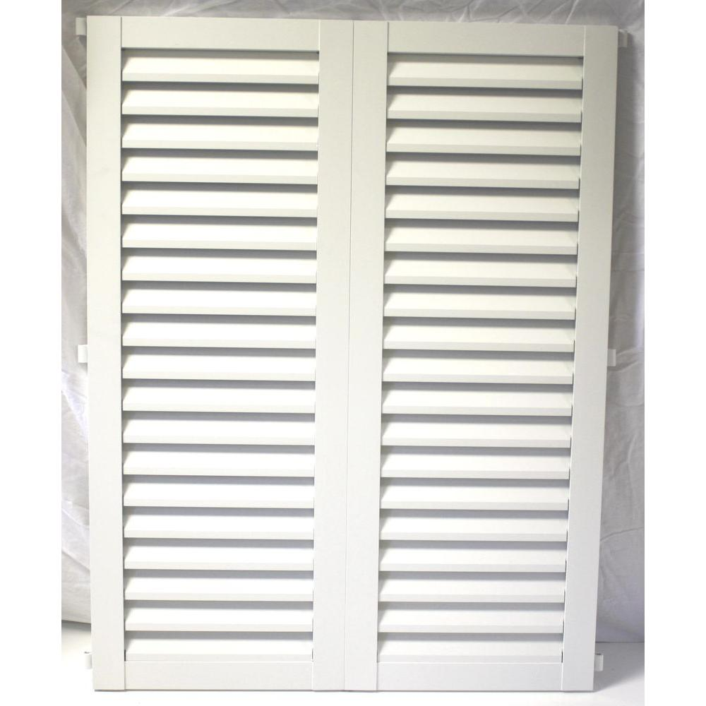 POMA 36 in. x 57.75 in. White Colonial Louvered Hurricane Shutters Pair