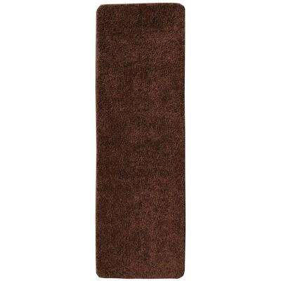 Loft Collection Shag Solid Design Brown 2 ft. x 6 ft. Non-Skid Runner Rug