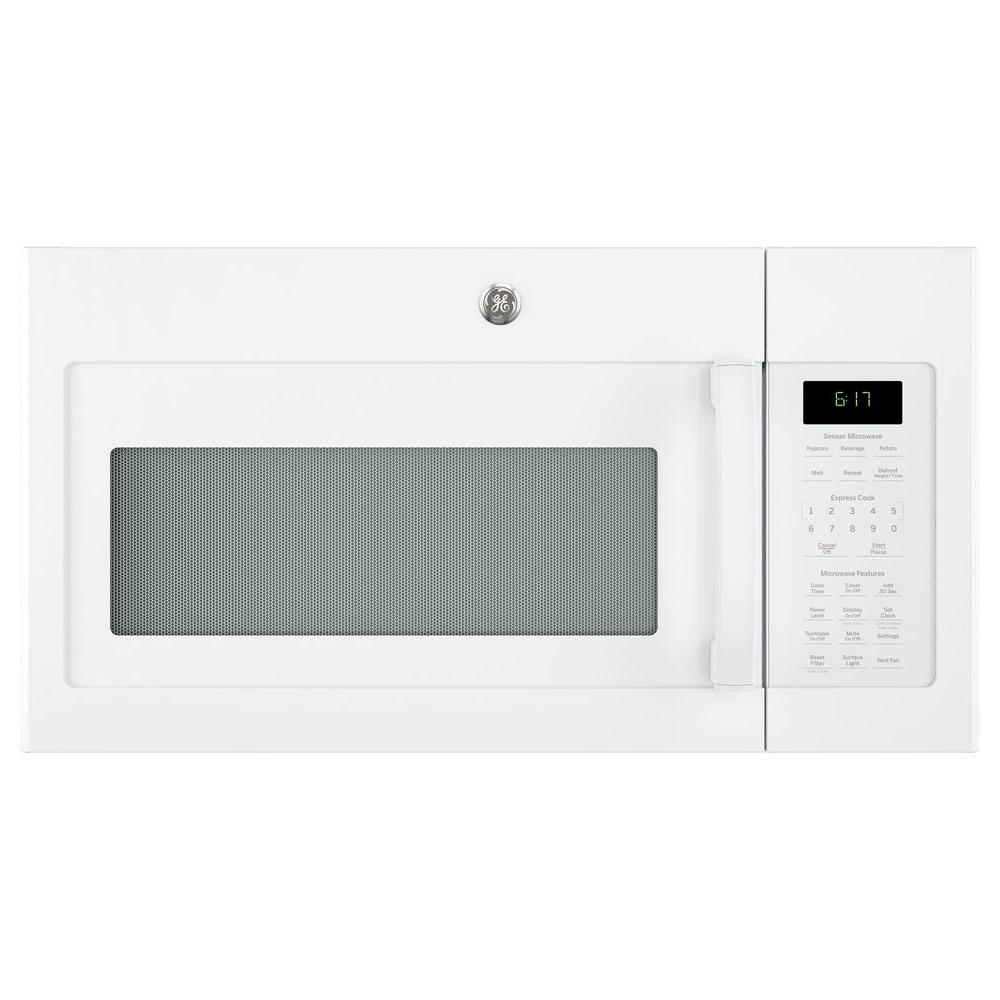 ge 1 7 cu ft over the range microwave with sensor cooking in white jvm6175dkww the home depot. Black Bedroom Furniture Sets. Home Design Ideas