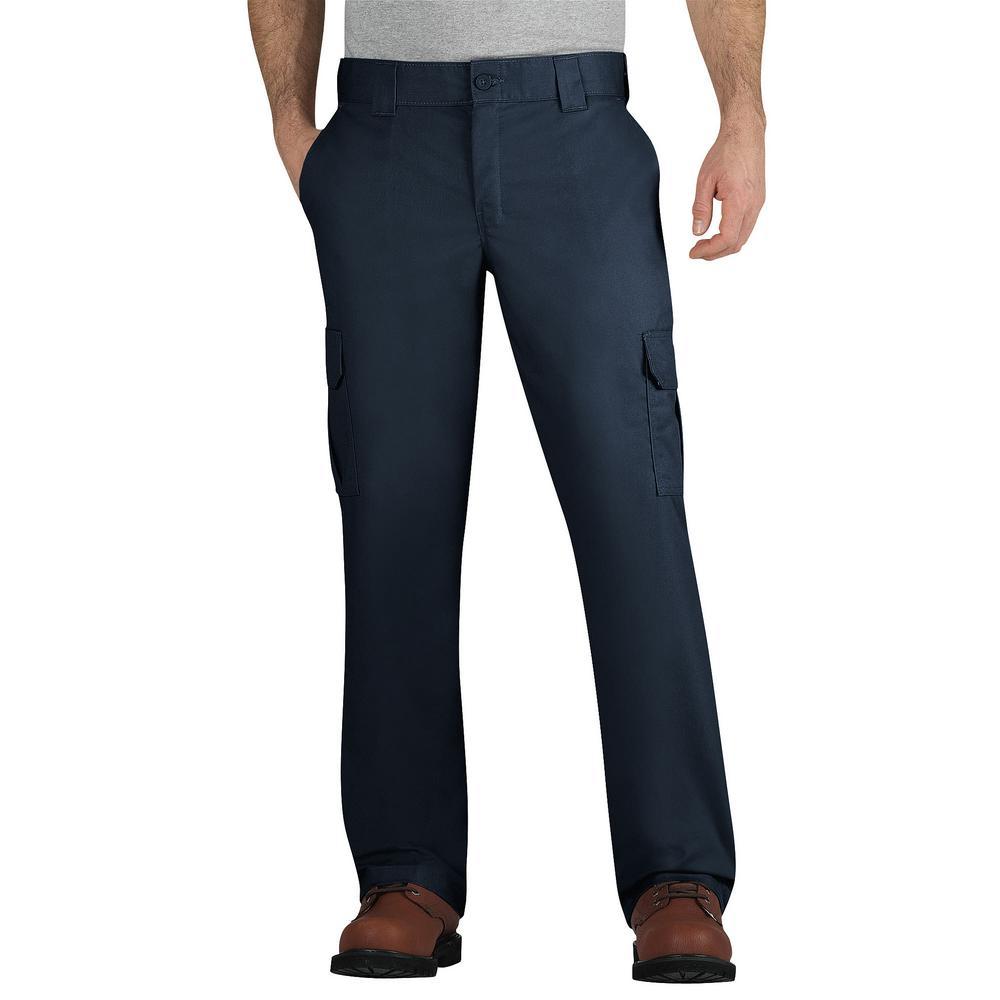 Men's 36 in. x 30 in. Dark Navy Flex Regular Fit Straight Leg Cargo Pant