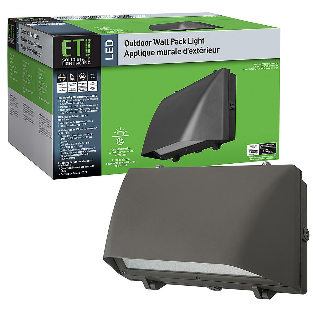 ETi 400-Watt Equivalent Integrated LED Bronze 16 in. Outdoor Security Wall Pack Light 5000K Full Cut Off 13000 Lumens