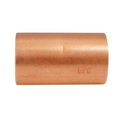 1/2 in. x 1/2 in. Copper Sweat x Sweat Coupling with Stop (50-Pack)