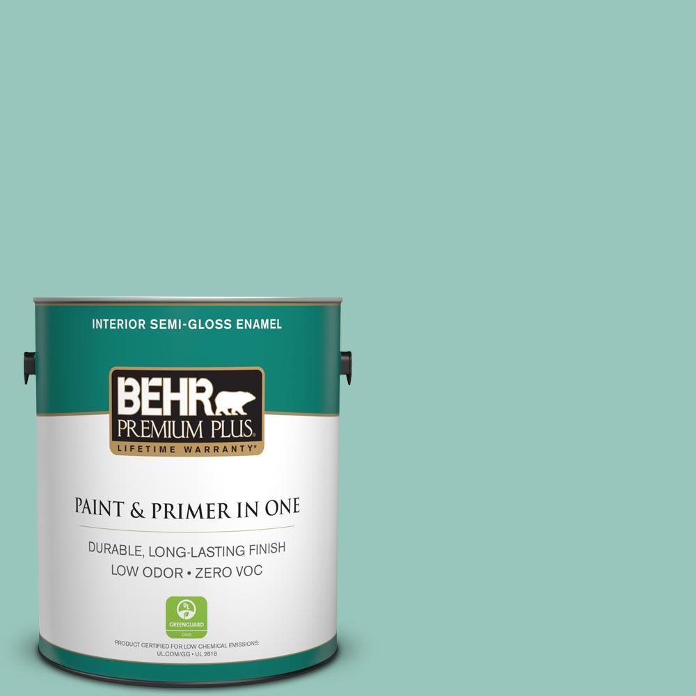 1-gal. #490D-4 Eucalyptus Leaf Zero VOC Semi-Gloss Enamel Interior Paint
