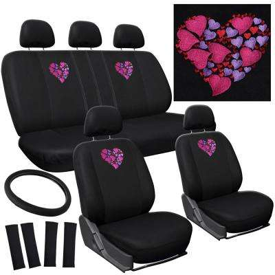 Polyester Seat Cover Set 24 in. L x 21 in. W x 40 in. H 17-Piece Embroidered Heart Seat Cover Set