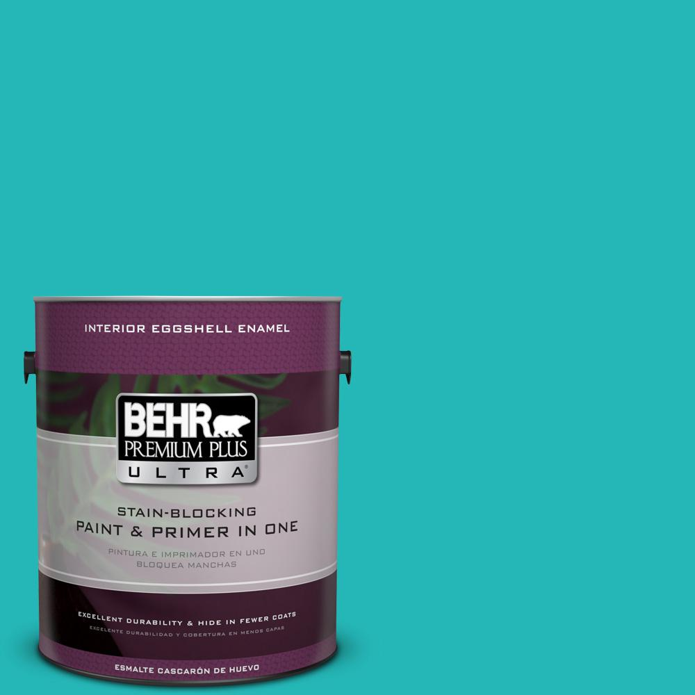 BEHR Premium Plus Ultra 1 gal. #MQ4-21 Caicos Turquoise Eggshell Enamel Interior Paint and Primer in One