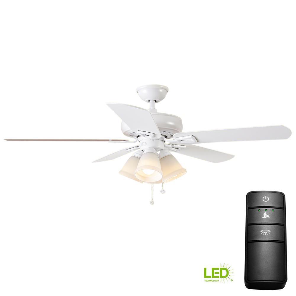 Hampton Bay Lyndhurst 52 in. LED Matte White Ceiling Fan ...