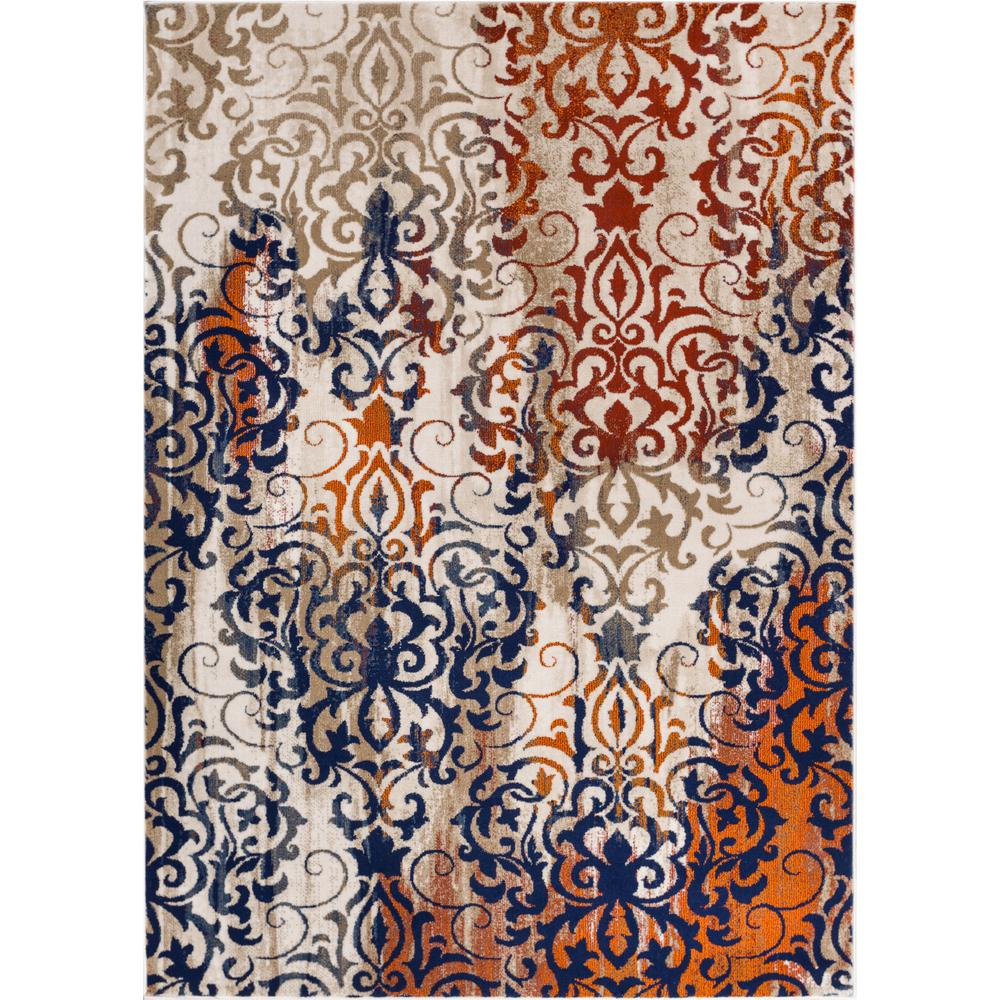 Amazing Well Woven Luxbury Damask Multi 7 Ft. 10 In. X 10 Ft. 6 In. Modern  Distressed Area Rug LX 21 7   The Home Depot