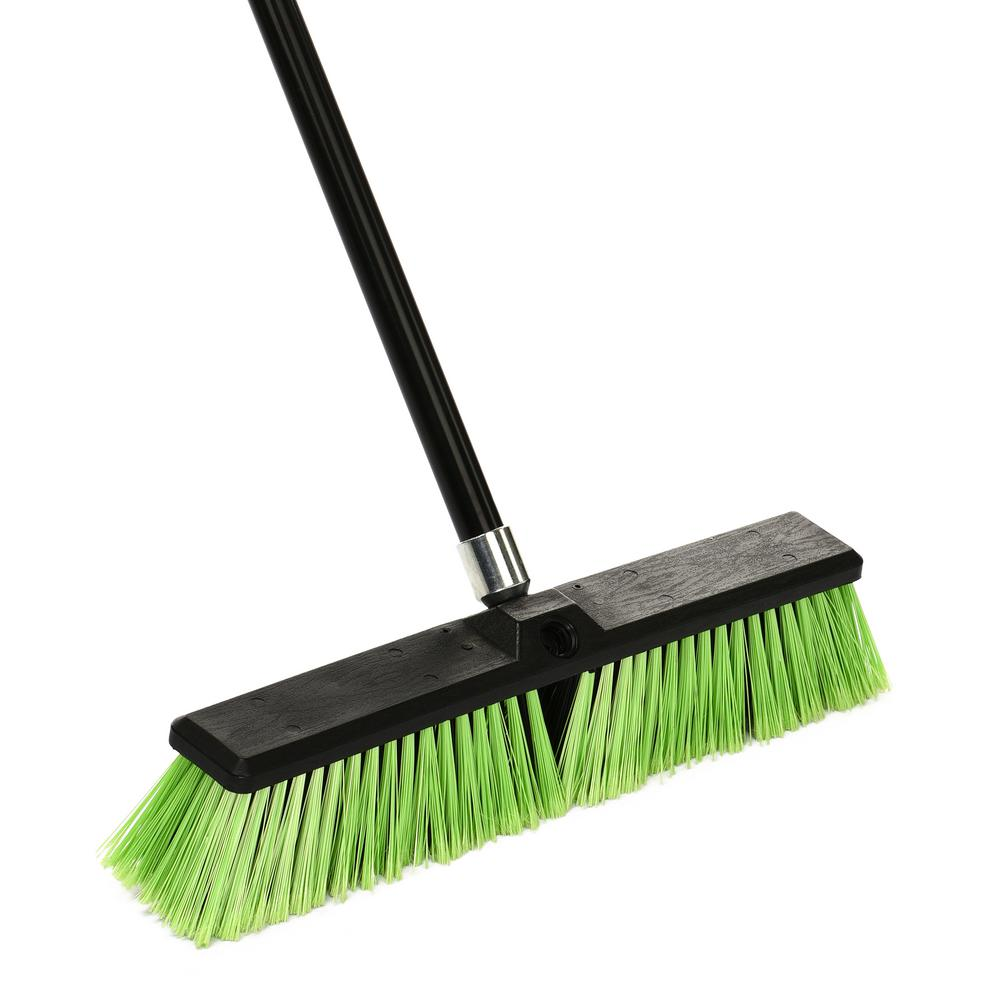 18 in. Green Indoor Outdoor Multi-Surface Push Broom