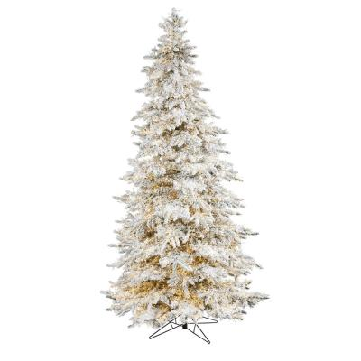 9 ft. Pre-lit Flocked Grand Northern Rocky Fir Artificial Christmas Tree with 8208 Warm Cluster Multi-Function LED Light