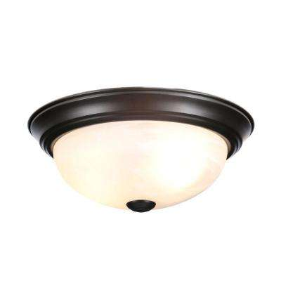 "Reedley Collection 11"" Small 2-Light Oil Rubbed Bronze Ceiling Flush Mount"