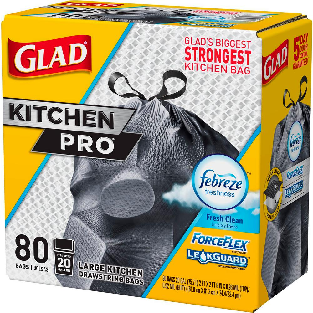 Kitchen Garbage Bags: Glad 20 Gal. ForceFlex Kitchen Pro Drawstring Fresh Clean