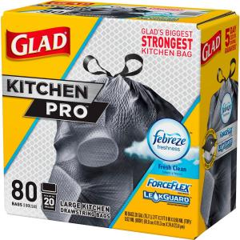Glad 20 Gal. ForceFlex Kitchen Pro Drawstring Fresh Clean Odor Shield Trash Bags-1258778918 - The Home Depot