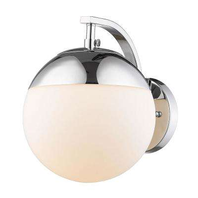 Dixon 1-Light Chrome with Opal Glass and Chrome Cap Sconce