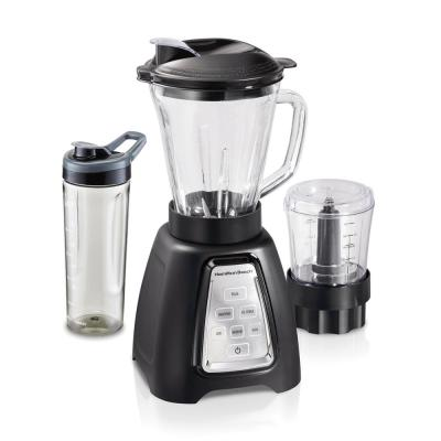 Multiblend 52 oz. 6-Speed Black Countertop Blender with Glass Jar and Travel Jar and Food Chopper