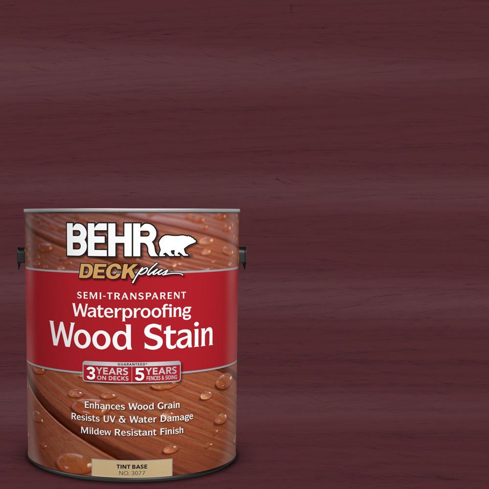 BEHR DECKplus 1 gal. #ST-106 Bordeaux Semi-Transparent Waterproofing Wood Stain