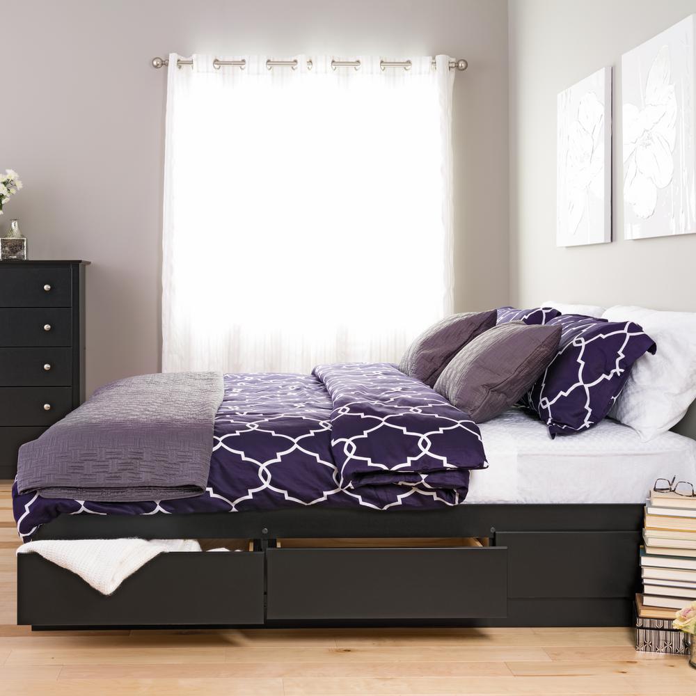 Prepac Sonoma King Wood Storage Bed, Black