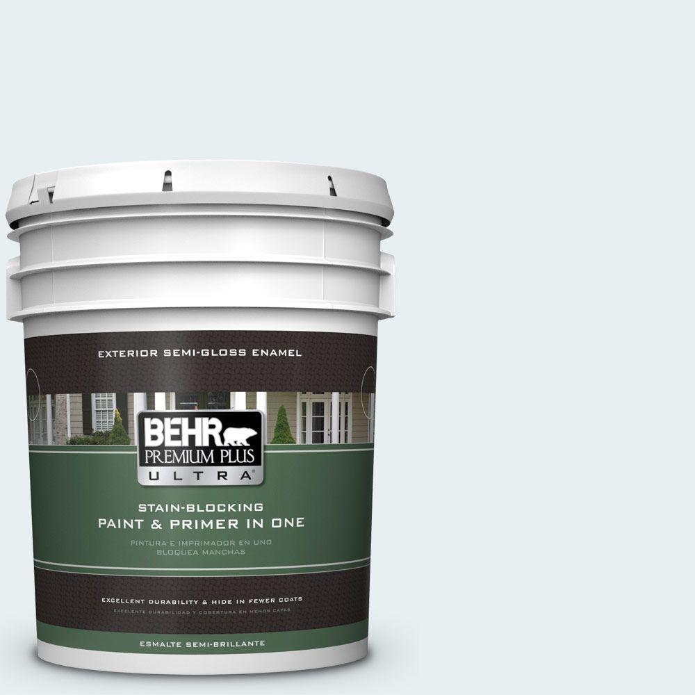 BEHR Premium Plus Ultra 5-gal. #730E-1 Polar White Semi-Gloss Enamel Exterior Paint