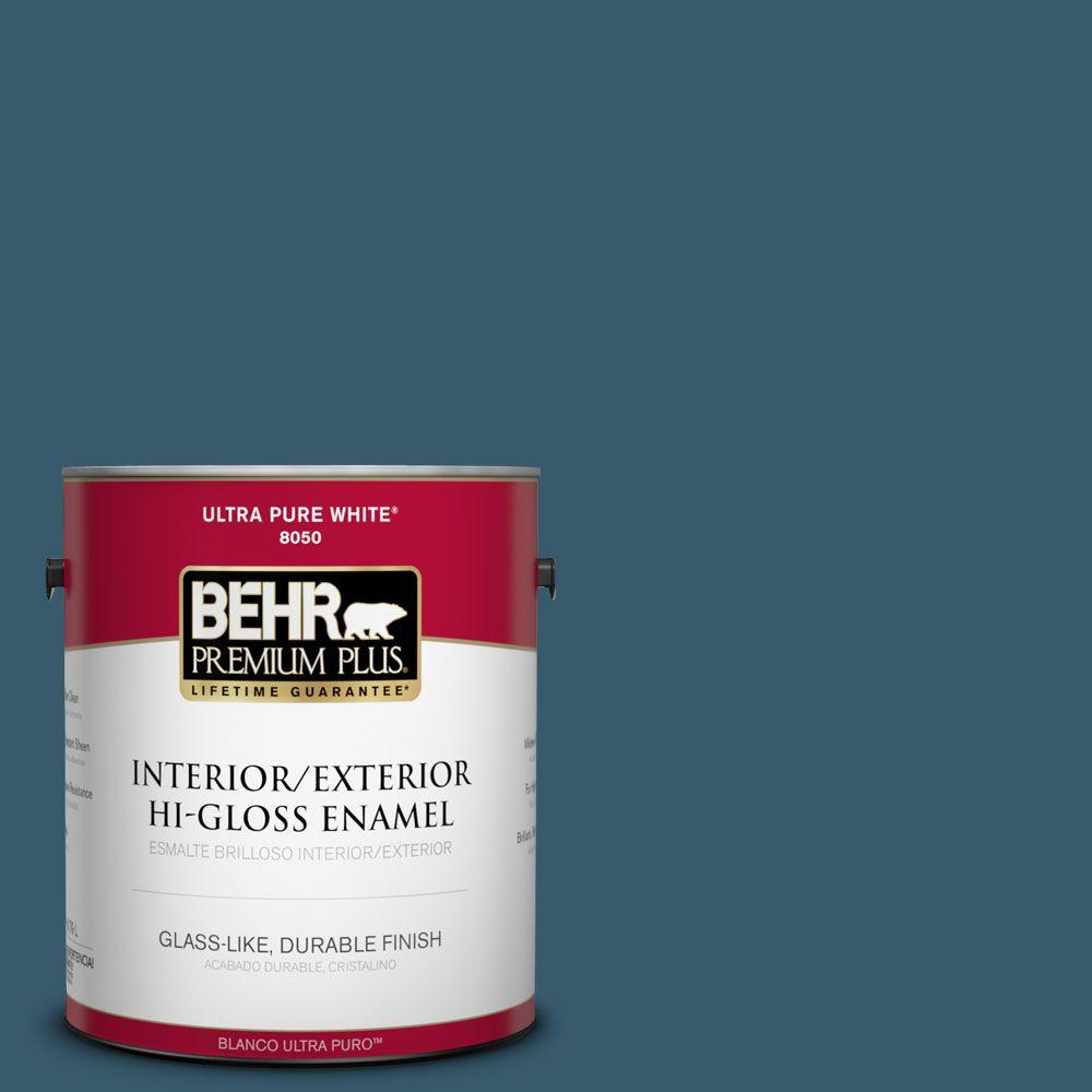 BEHR Premium Plus 1-gal. #550F-7 Blue Spell Hi-Gloss Enamel Interior/Exterior Paint